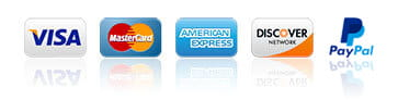 We accept most credit cards as well as PayPal.